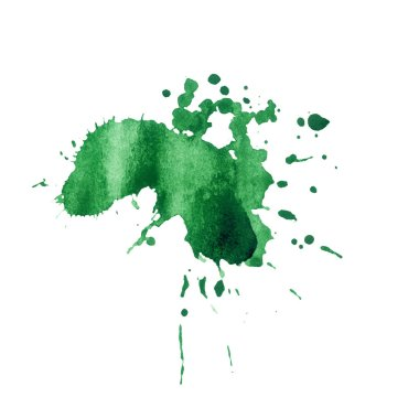 Green paint watercolor splash texture. Hand drawn inkblot on paper. Green dry spot on white background. Ink splatter. Shapeless paint drop design element. Isolated ink blob raster