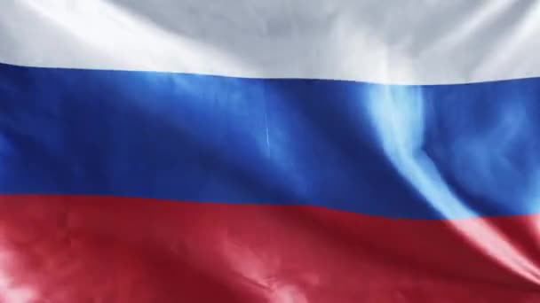 top view of waving national russian flag with red, blue and white stripes