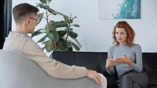selective focus of patient talking with psychologist