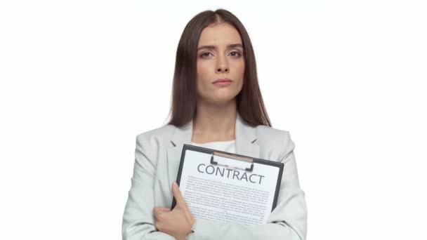 pensive businesswoman holding clipboard with contract isolated on white