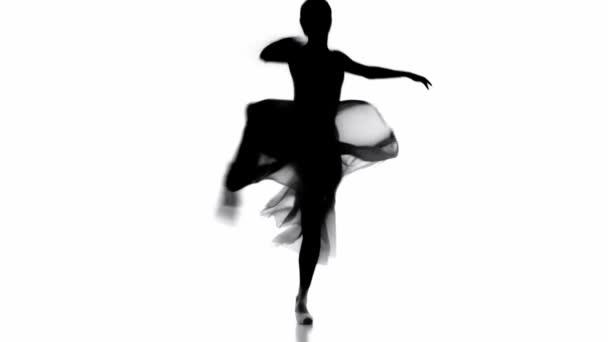 Silhouette of balerina szoknyában tánc elszigetelt fehér