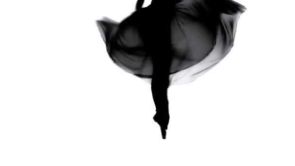 Silhouette of ballerina spinning on pointe isolated on white