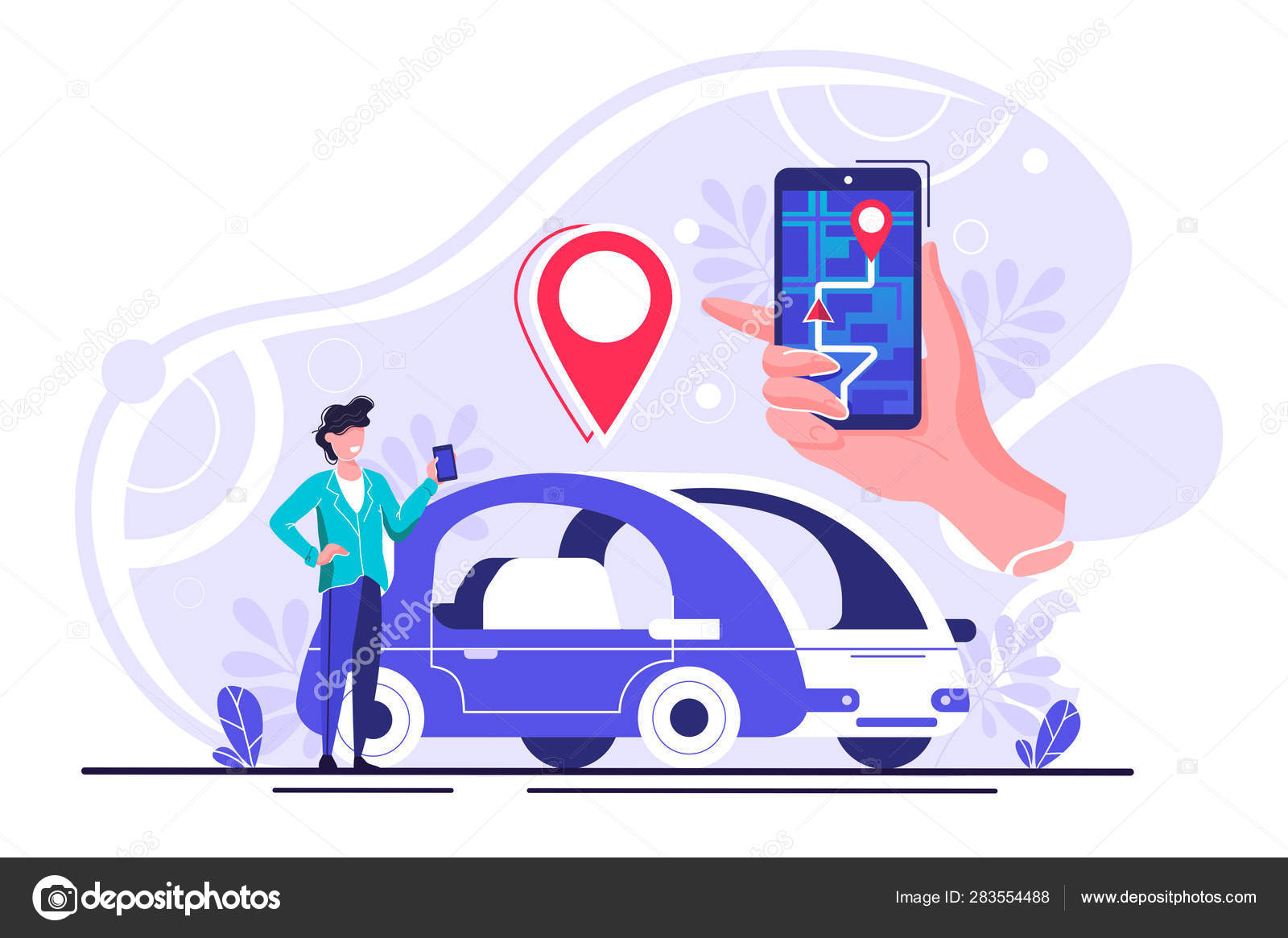 Gps system, cartography display, location on the city map