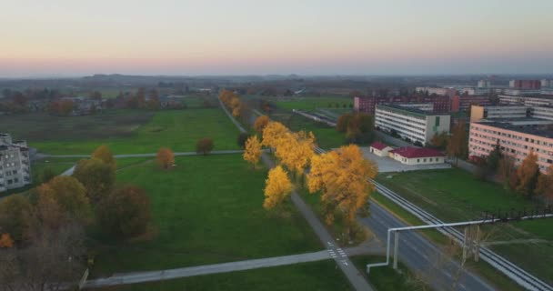 Aerial footage of foliage in small Estonian town at sunset.