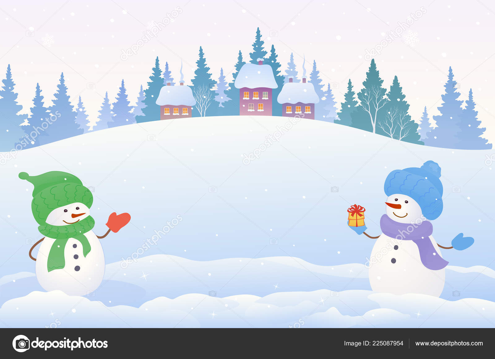 Christmas Scene Drawing.Clipart Snow Scenery Vector Cartoon Drawing Christmas
