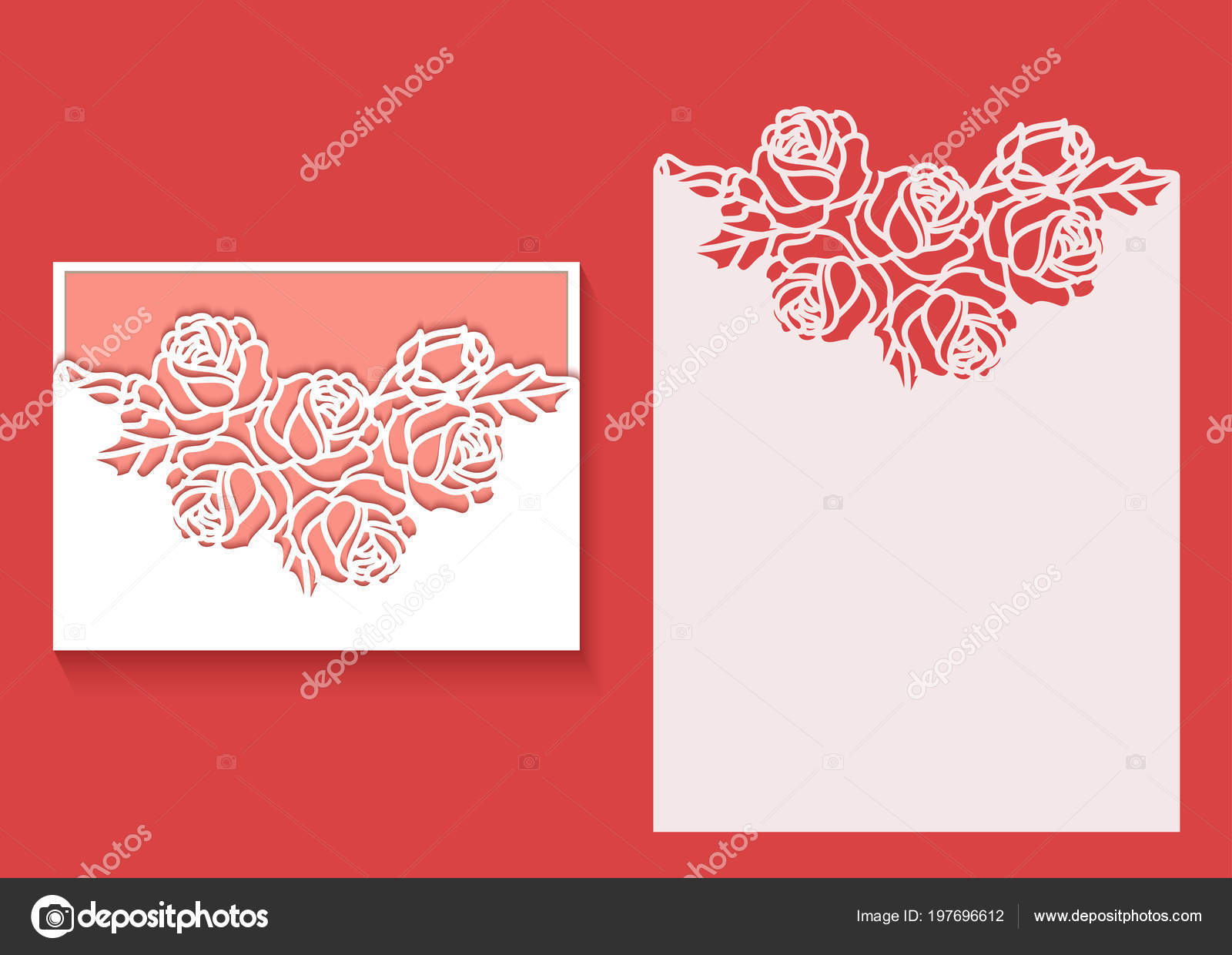 paper greeting card lace border pattern roses cut out template
