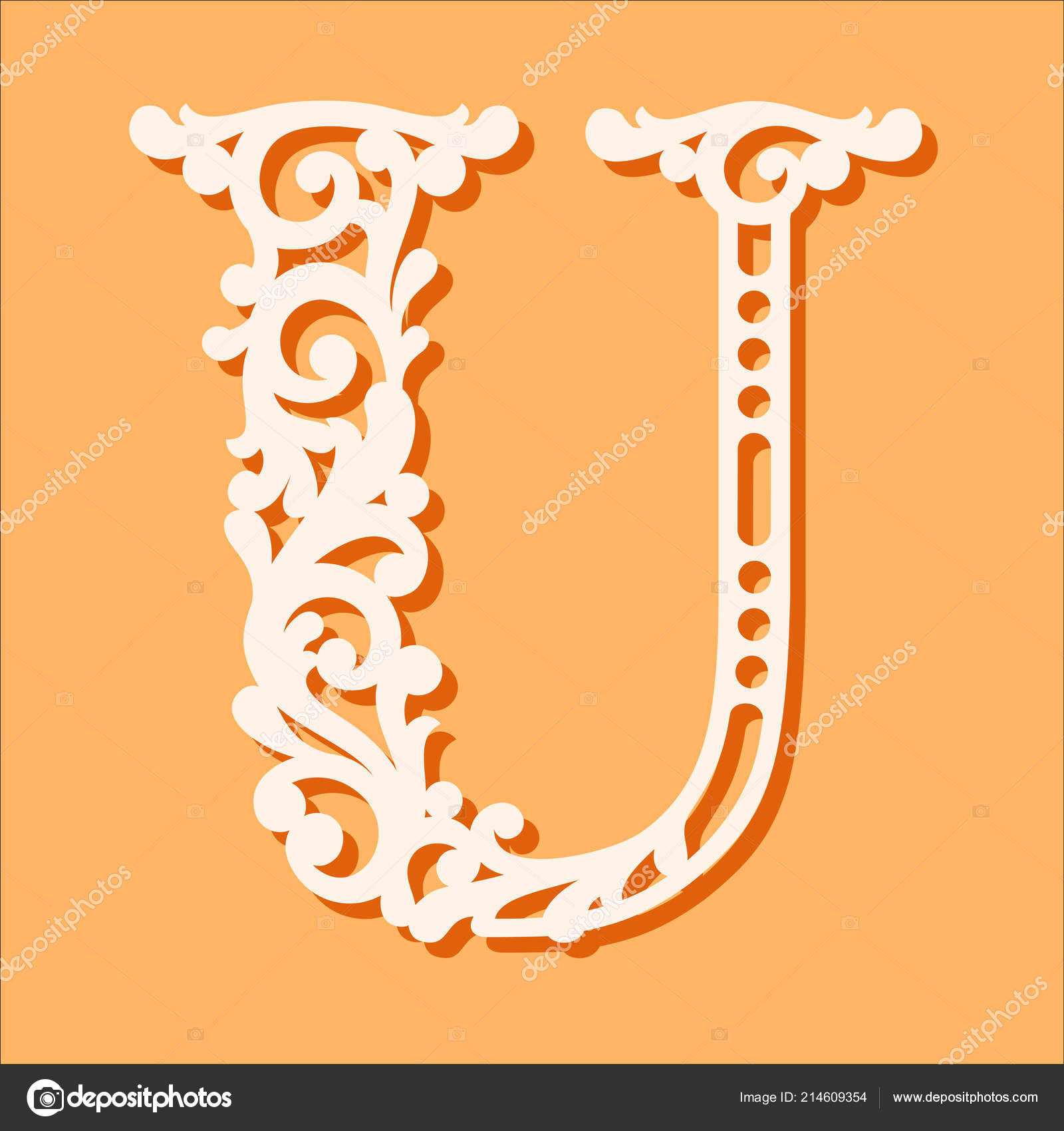 Laser Cut Template Initial Monogram Letters Fancy Floral Alphabet Letter Stock Vector