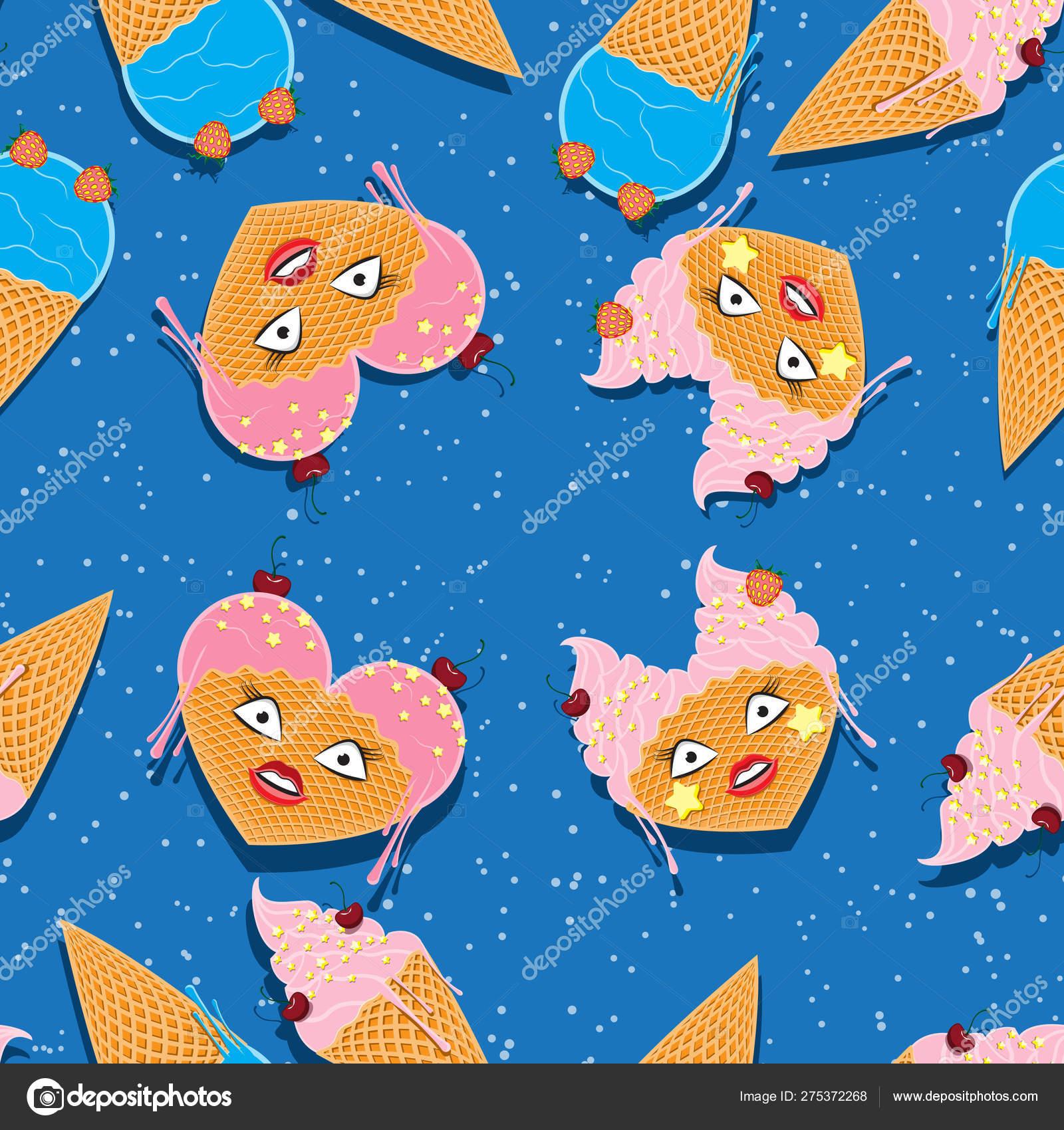 Vector Seamless Pattern Cartoon Kawaii Food Ice Cream In
