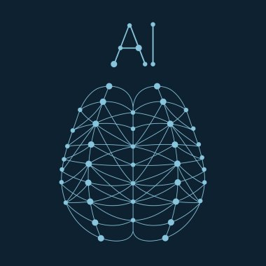 Artificial brain formed by ai neural network.