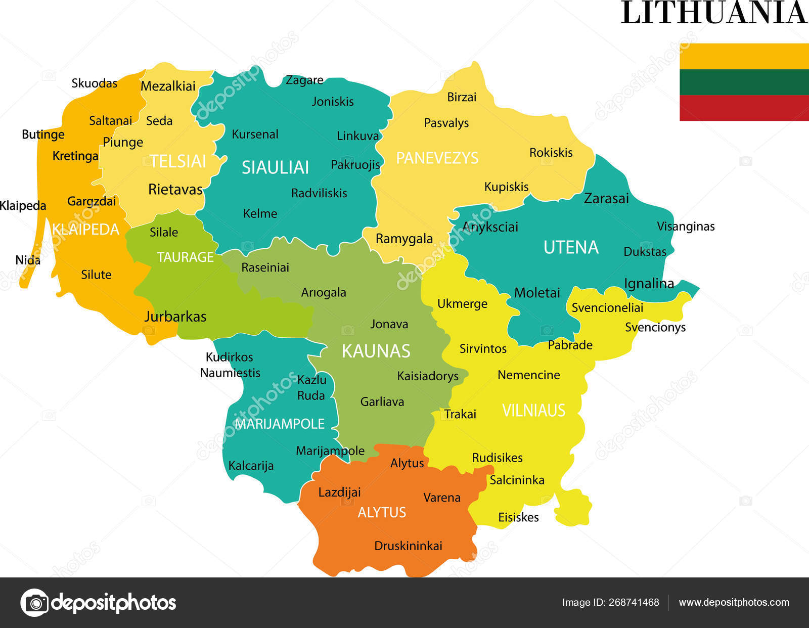 Map Lithuania Vector Illustration — Stock Vector ...
