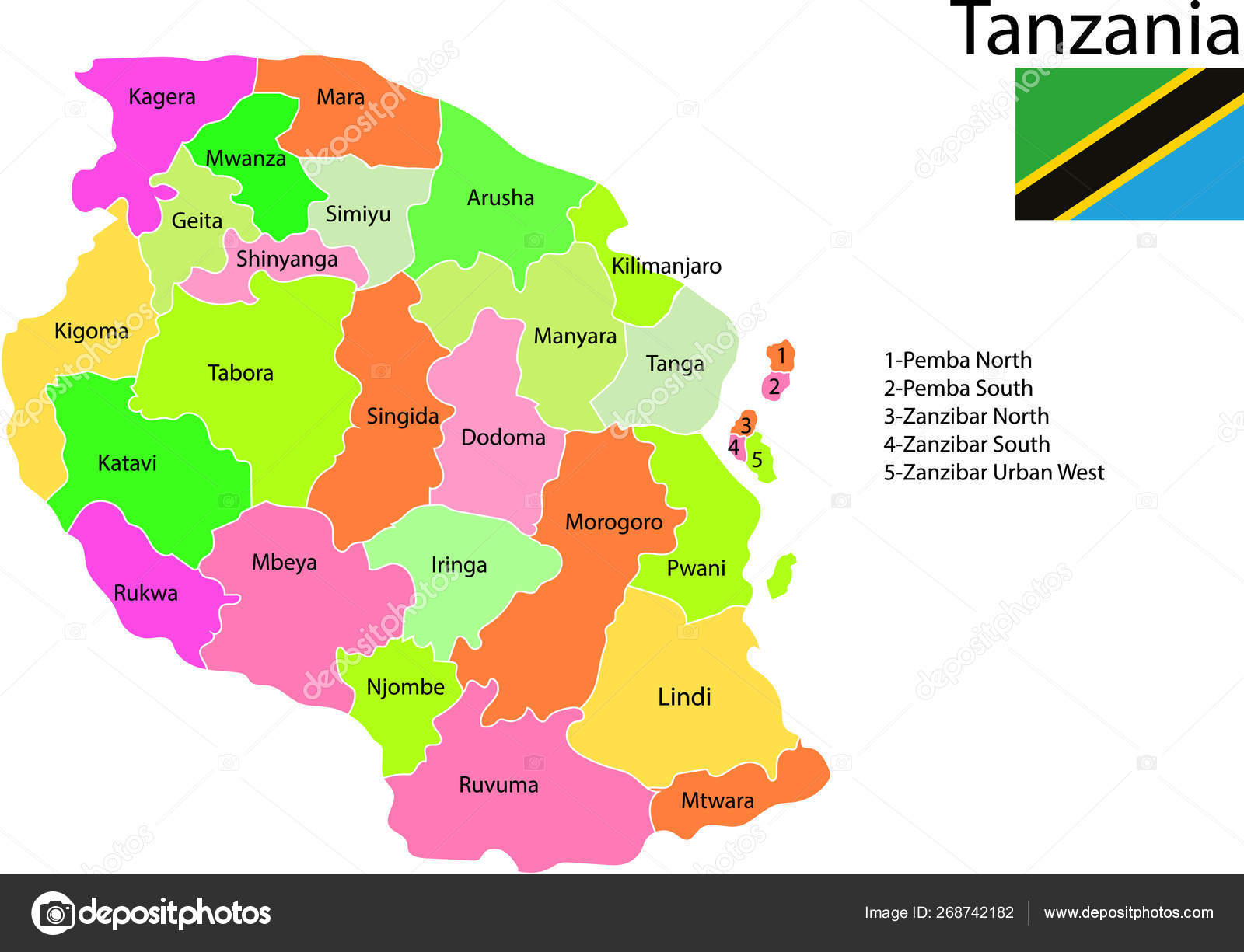 Tanzania Map Vector Illustration — Stock Vector © marsvector #268742182