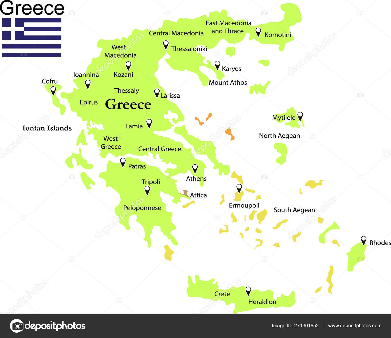Greece Map Vector Illustration — Stock Vector © marsvector ...