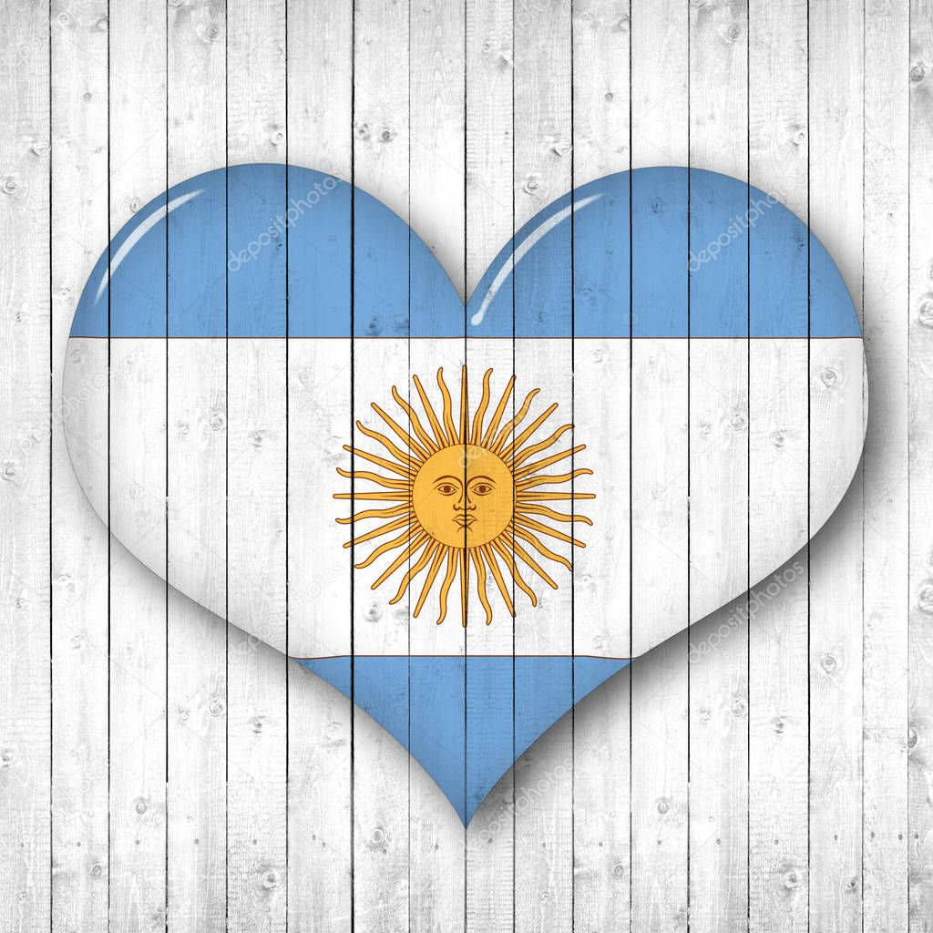 argentina  flag, heart shape,  wooden background  with copy space for your text or images
