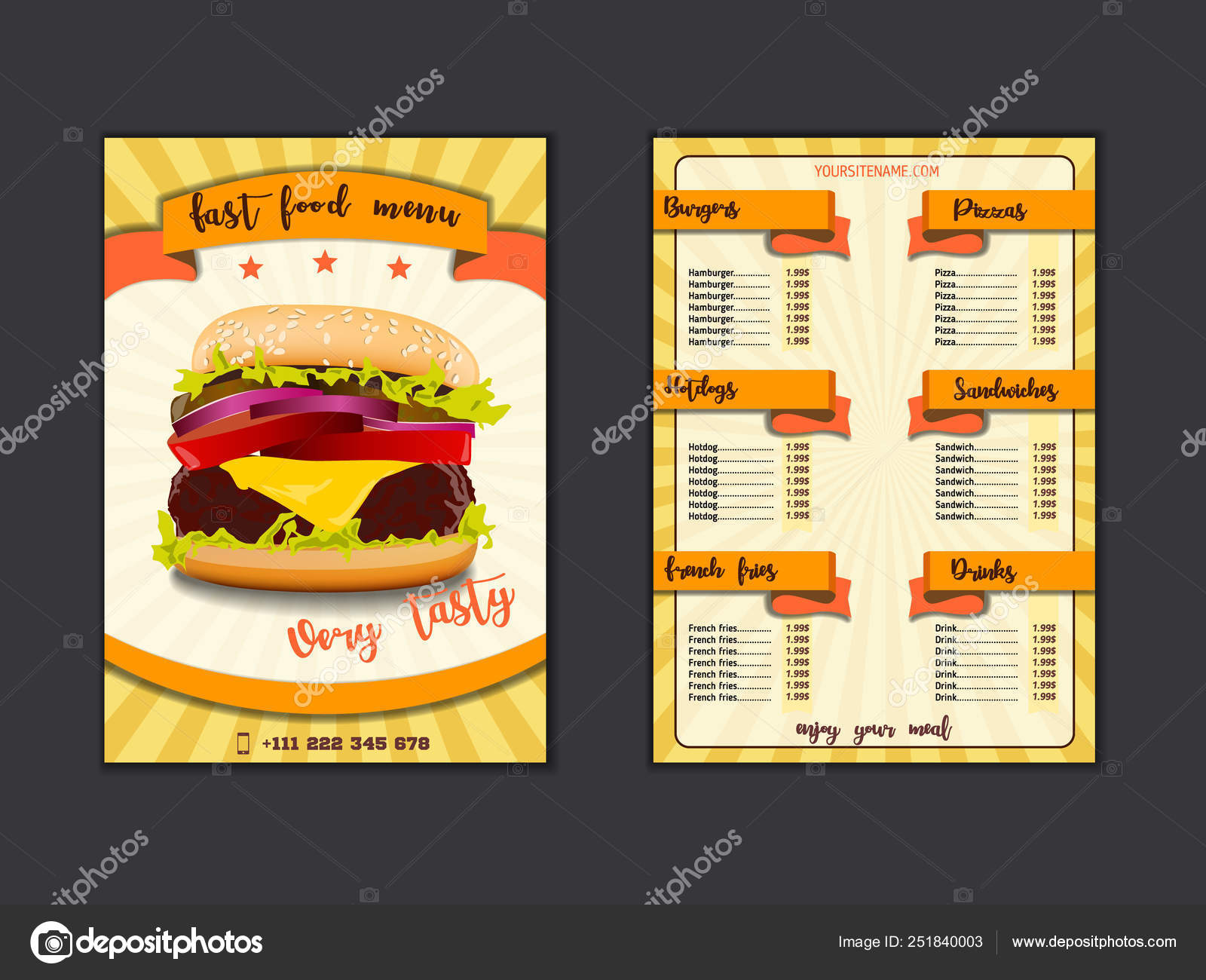Fast Food Restaurant Menu Template Lunch Dishes And Drinks List With Prices And Burger Pizza Hot Dog Soda Fries Coffee Donut Sandwich For Folding Brochure Design Stock Vector C Yotor 251840003