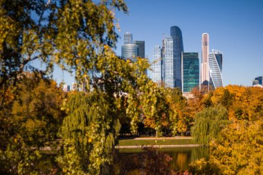 Beautiful view of the business center of Moscow city from the Novodevichy convent Park on the background of yellowed autumn trees and blue sky. Autumn landscape.
