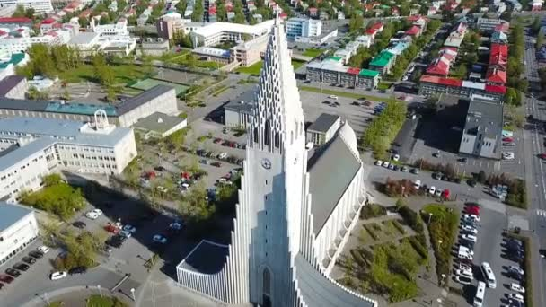 modern Iceland Reykjavik architecture. Aerial video footage. religious building from the top. Aerial dron video. Hallgrimskirkja church
