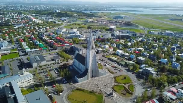 Hallgrimskirkja church Iceland Reykjavik modern architecture. Aerial video footage. down town from the top. Aerial dron video. Amazing city center view flight.