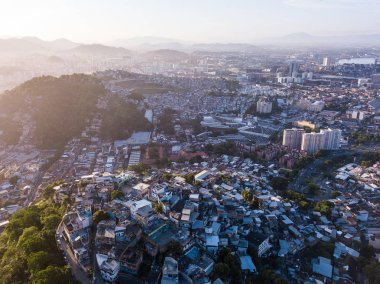 Aerial photo of city Rio de Janeiro Brazil. narrow streets of the poor favelas house on the hills