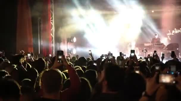 26.06.2019 Kuraz bazar Kiev Ukraine. Gus Gus consert live gig. Video. People taking video with their cell phones fpr social media.
