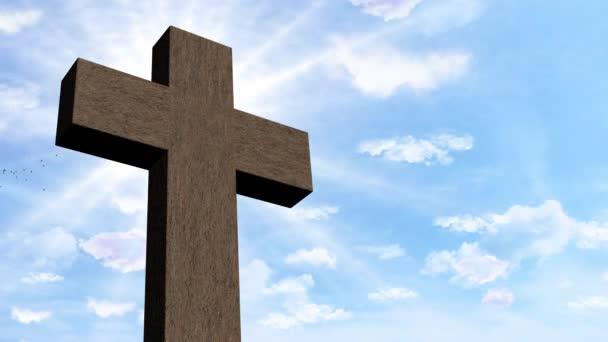 Vzkříšení Ježíše Krista. Křesťanský kříž pod modrou oblohou