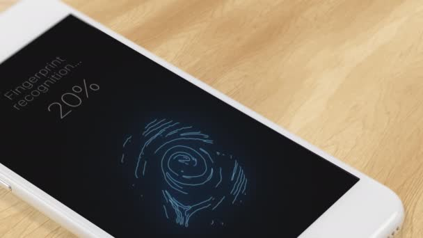 Fingerprint recognition in a mobile phone. Smartphone unlocked after authentication