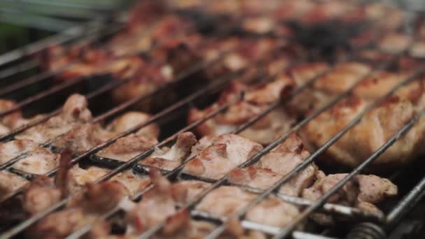 Közelkép. Csirke grillsütőben sütve az országban. Közeleg a füst.