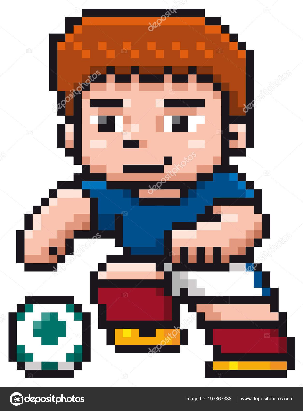 Vector Illustration Cartoon Soccer Player Pixel Design