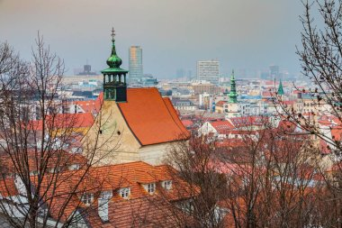 Bratislava, Slovakia - February 10 2019: Old city view and MARTINS CATHEDRAL