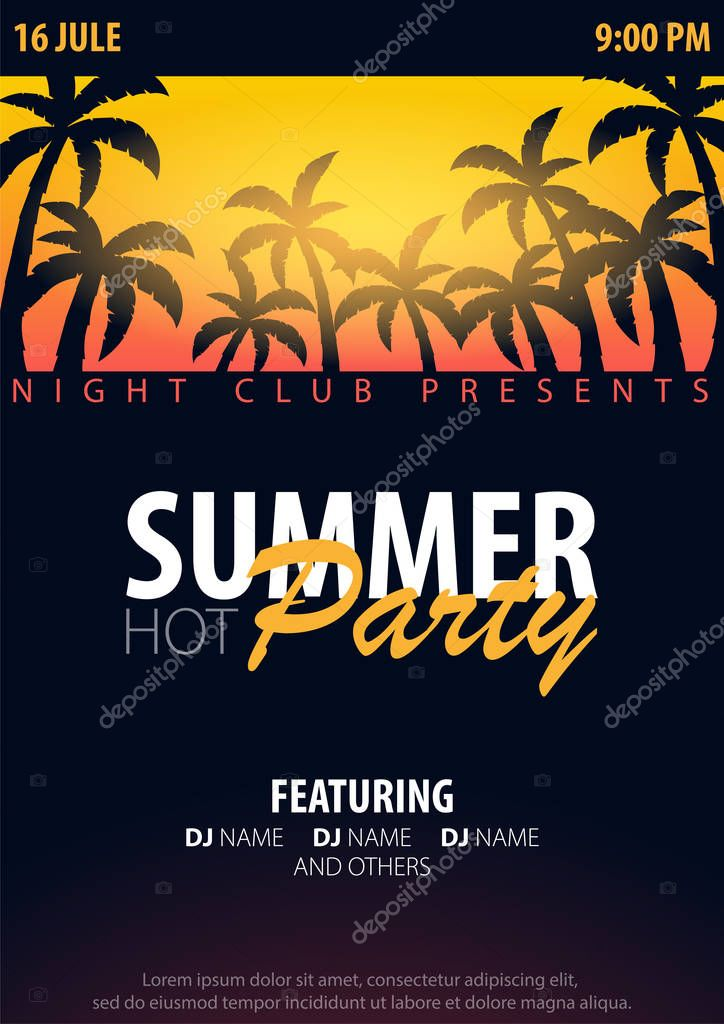 Summer Party backgrounds with palms. Summer placard poster flyer invitation card. Summer time. Vector Illustration.