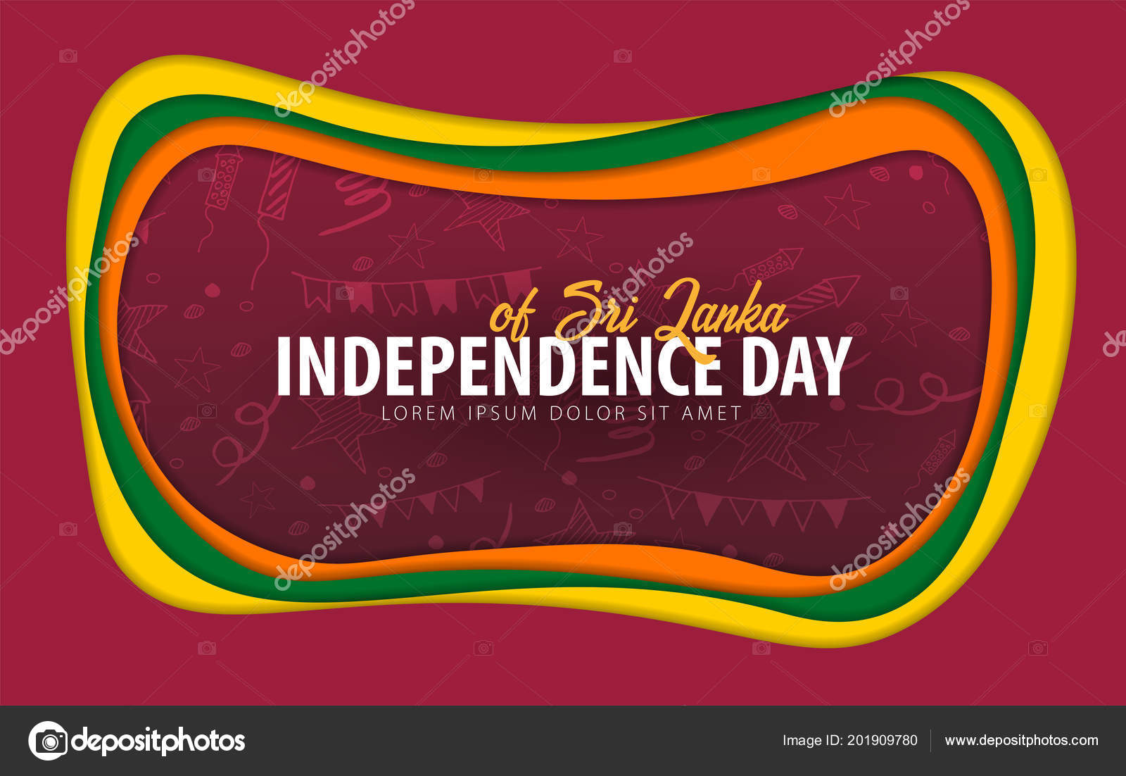 Sri Lanka Independence Day Greeting Card Paper Cut Style
