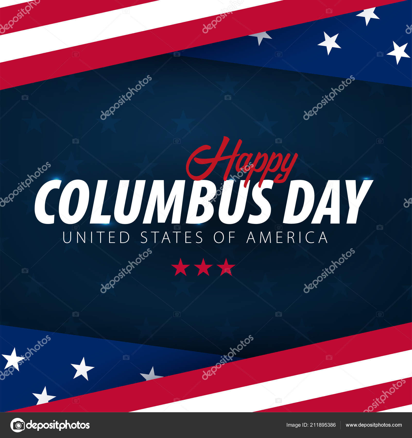 Columbus Day Sale Promotion Advertising Poster Banner Template With American Flag Wallpaper Voucher Discount Vector By Leo Design