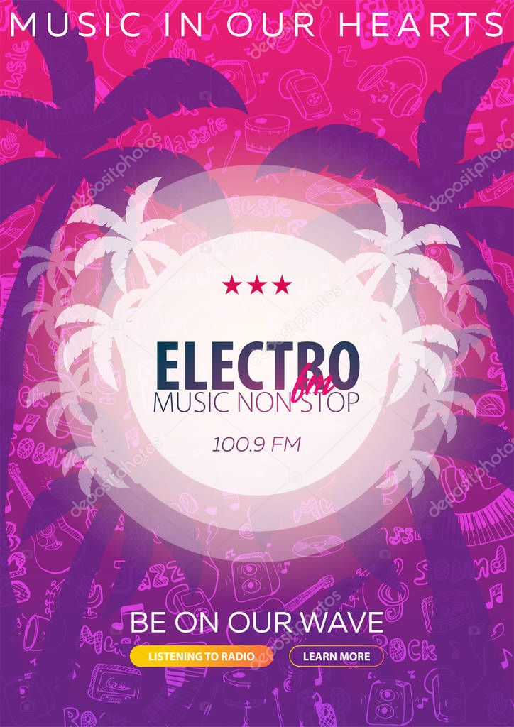 Beautiful flyer for summer party. Radio Music. Vector illustration. Invitation to nightclub.