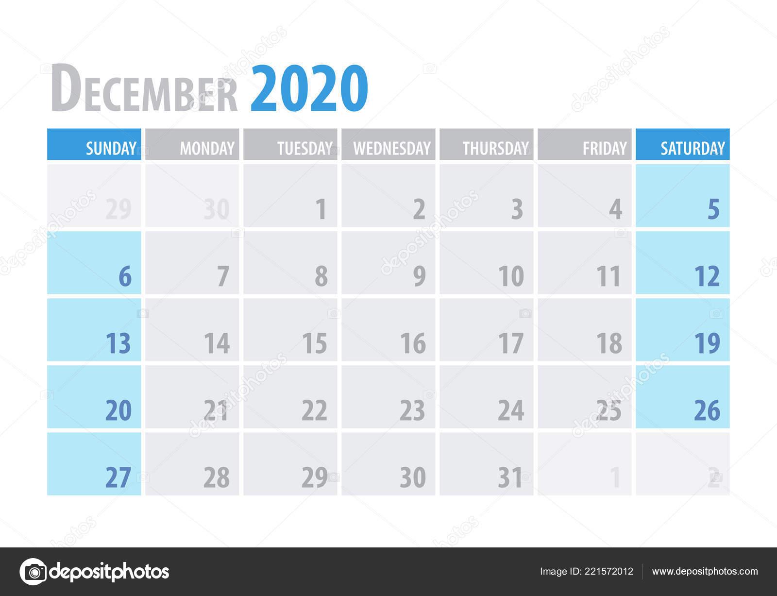 December Calendar 2020.December Calendar Planner 2020 In Clean Minimal Table Simple Style