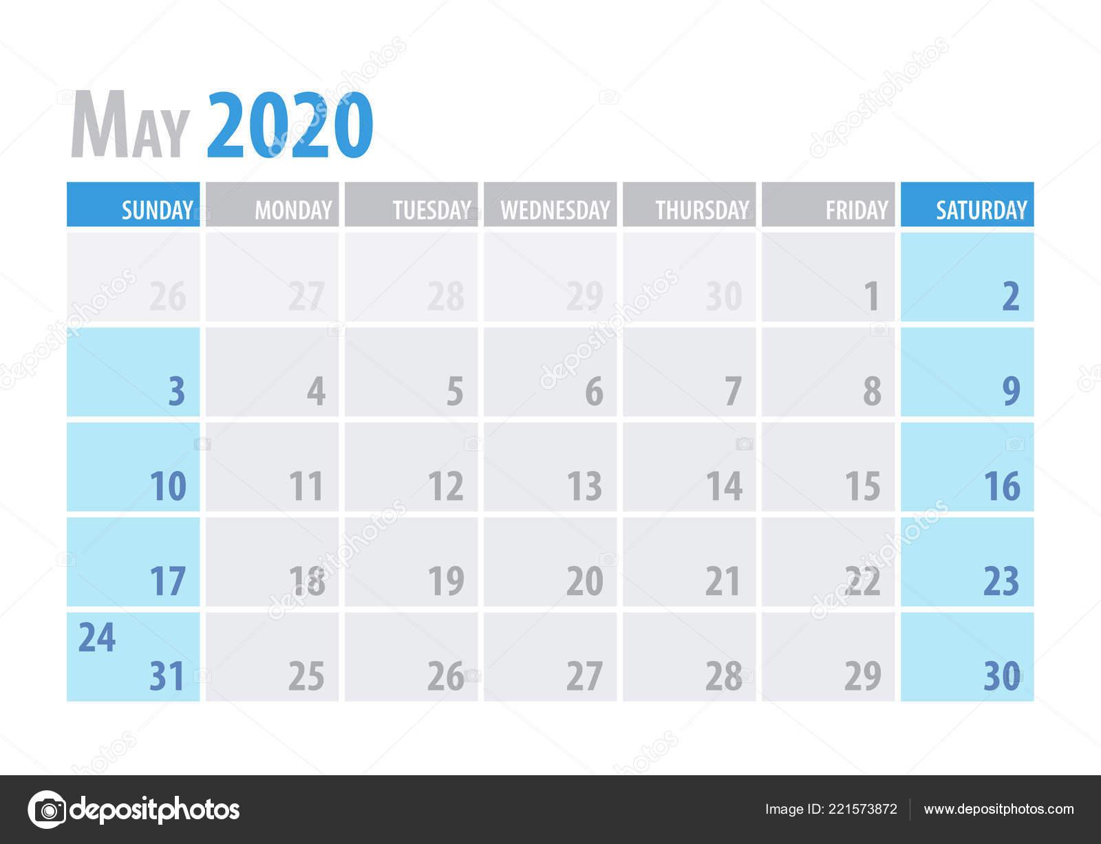 Calendario Mese Di Maggio 2020.Maggio Calendario Planner 2020 In Stile Semplice E Pulito