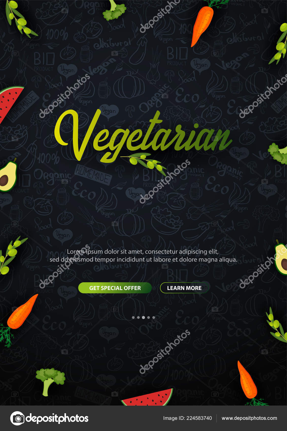 Go Vegan Healthy Food Vegetarian Banner Hand Draw Doodle Background Vector Illustration Stock Vector C Leo Design 224583740