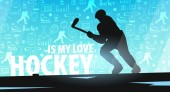 Hockey banner with player and doodle elements on the background. Vector illustration.