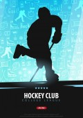 Hockey banner with players and doodle elements on the background. Vector illustration.