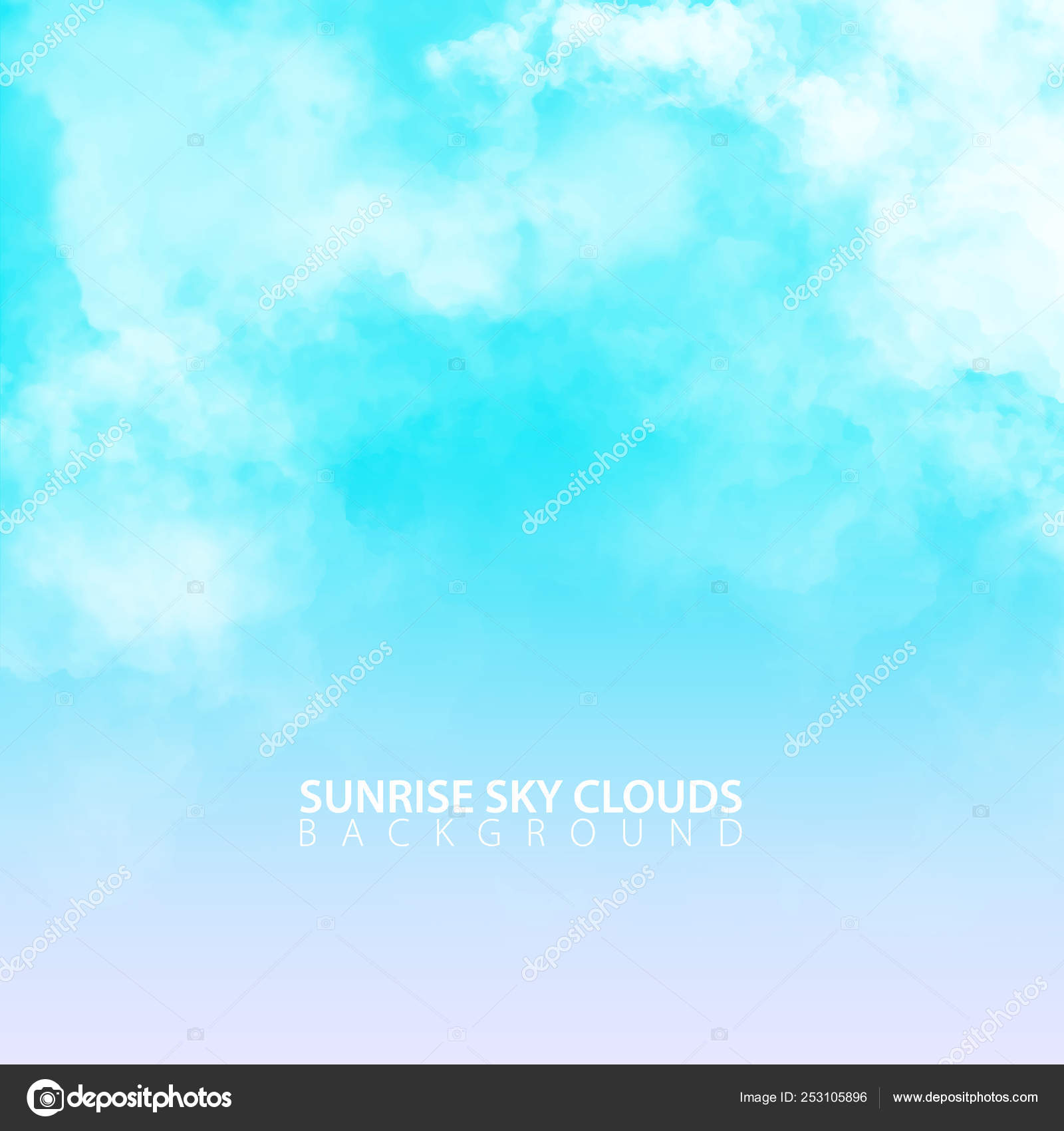Sunrise morning sky with white realistic clouds  Vector