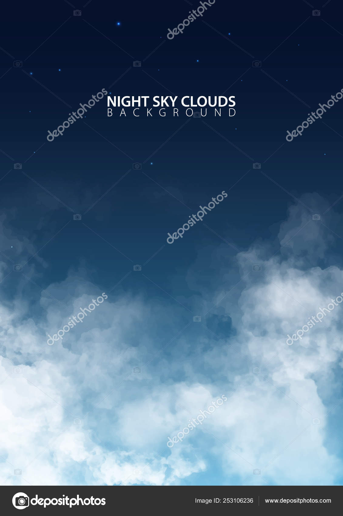 Night sky with white realistic clouds  Vector Illustration