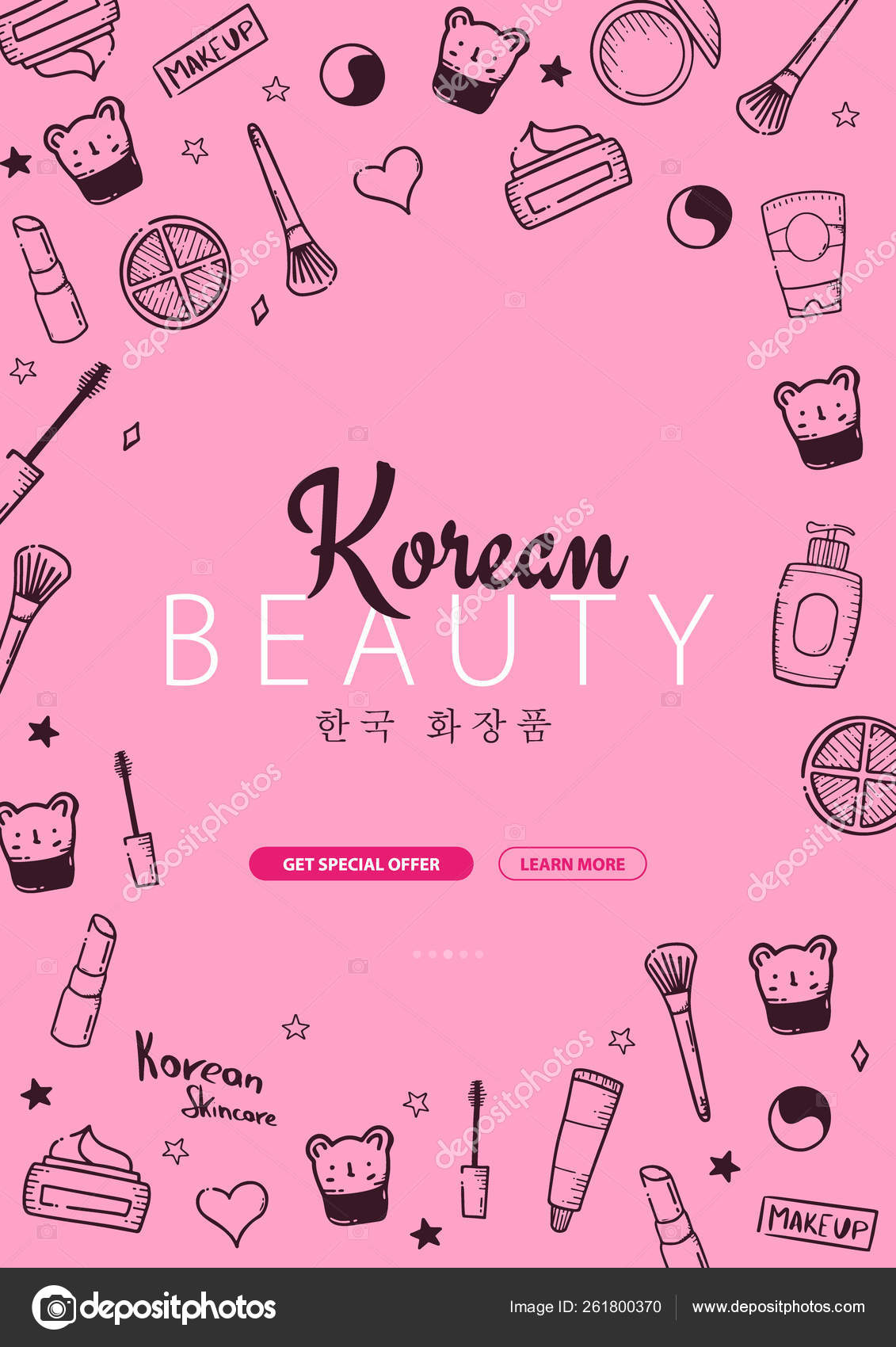 Korean Cosmetics K Beauty Banner With Hand Draw Doodle Background Skincare And Makeup Translation Korean Cosmetics Vector Illustration Stock Vector C Leo Design 261800370