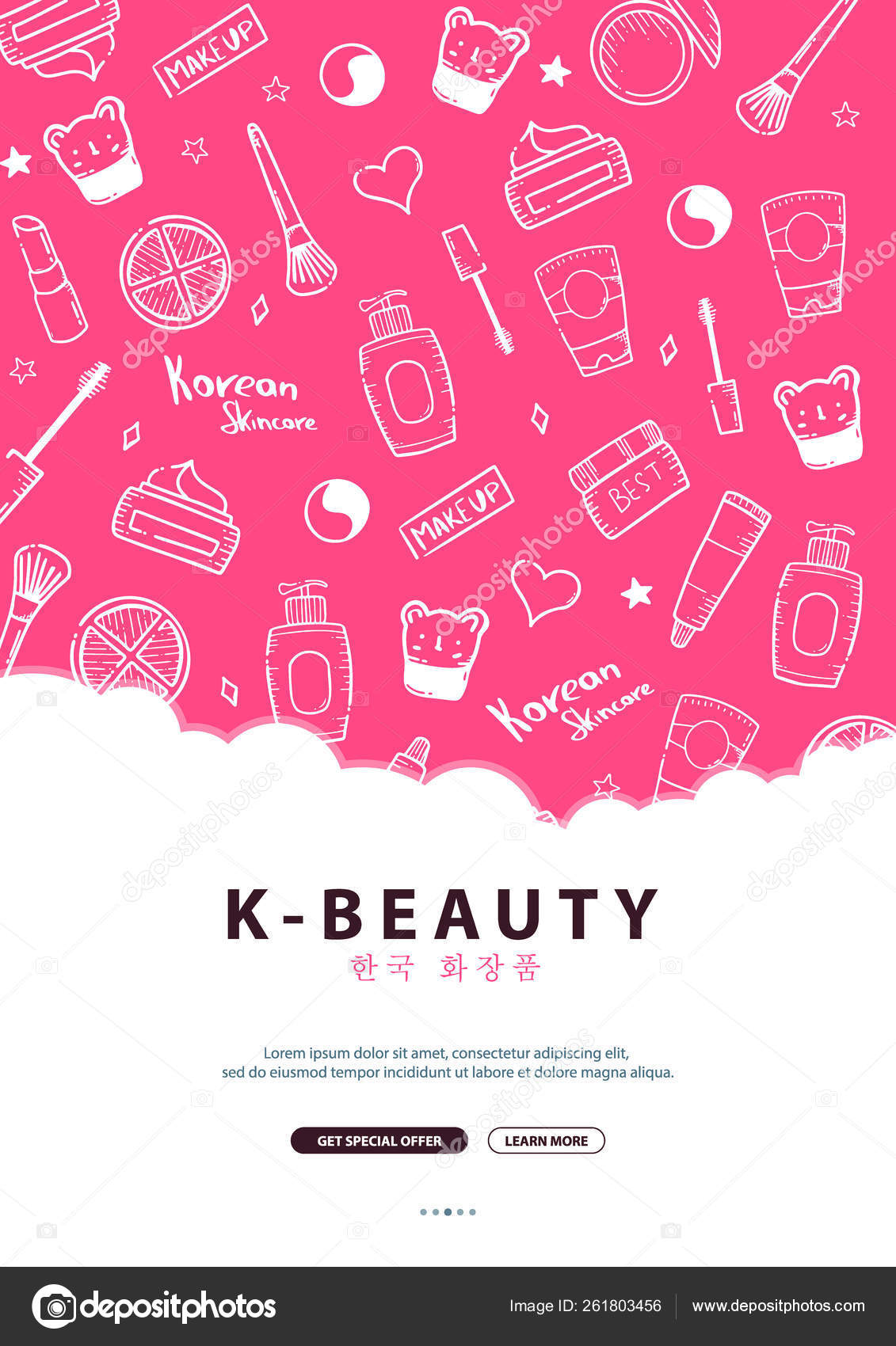 Korean Cosmetics K Beauty Banner With Hand Draw Doodle Background Skincare And Makeup Translation Korean Cosmetics Vector Illustration Stock Vector C Leo Design 261803456