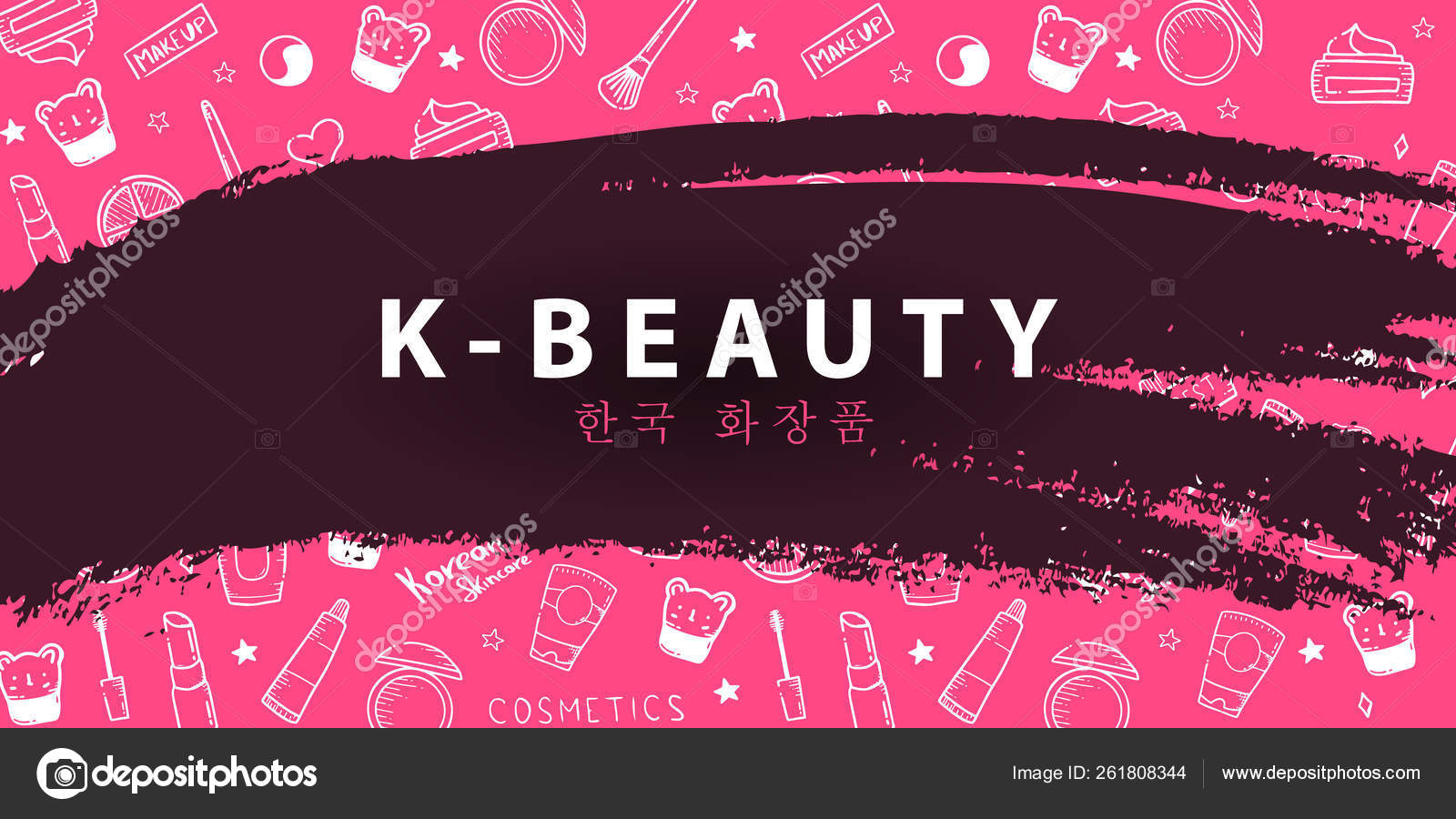 Korean Cosmetics K Beauty Banner With Hand Draw Doodle Background Skincare And Makeup Translation Korean Cosmetics Vector Illustration Stock Vector C Leo Design 261808344