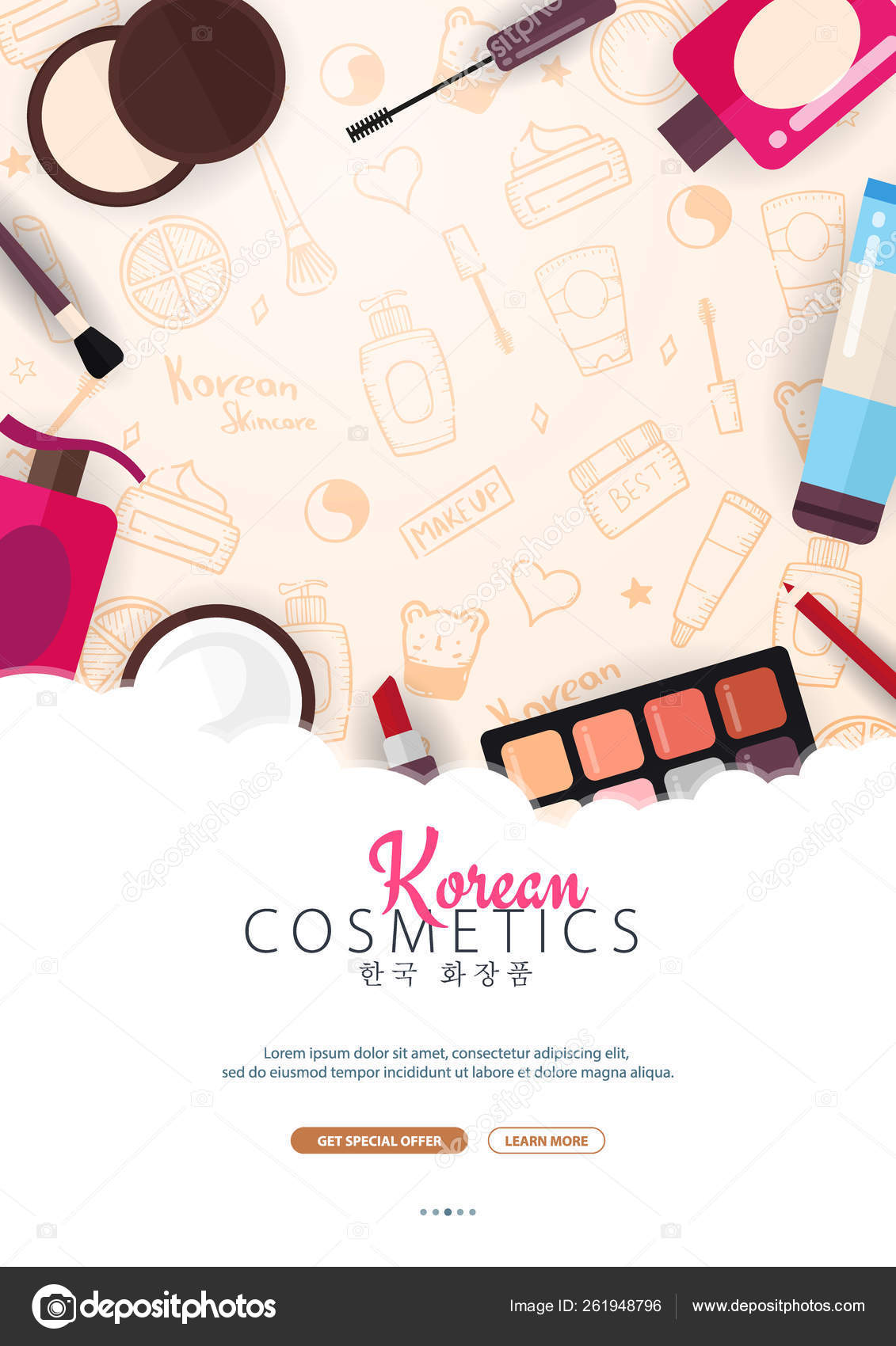 Korean Flat Cosmetics K Beauty Banner With Hand Draw Doodle Background Skincare And Makeup Translation Korean Cosmetics Vector Illustration Stock Vector C Leo Design 261948796
