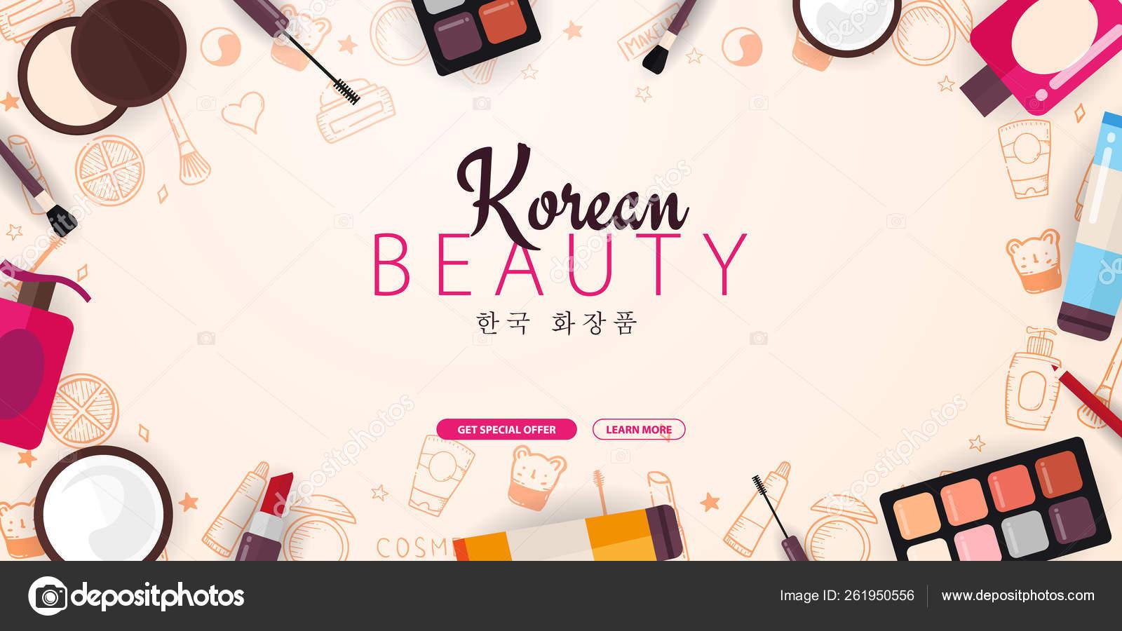 Korean Flat Cosmetics K Beauty Banner With Hand Draw Doodle Background Skincare And Makeup Translation Korean Cosmetics Vector Illustration Stock Vector C Leo Design 261950556