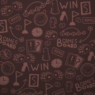 Board Games hand draw doodle background. Vector Illustration.