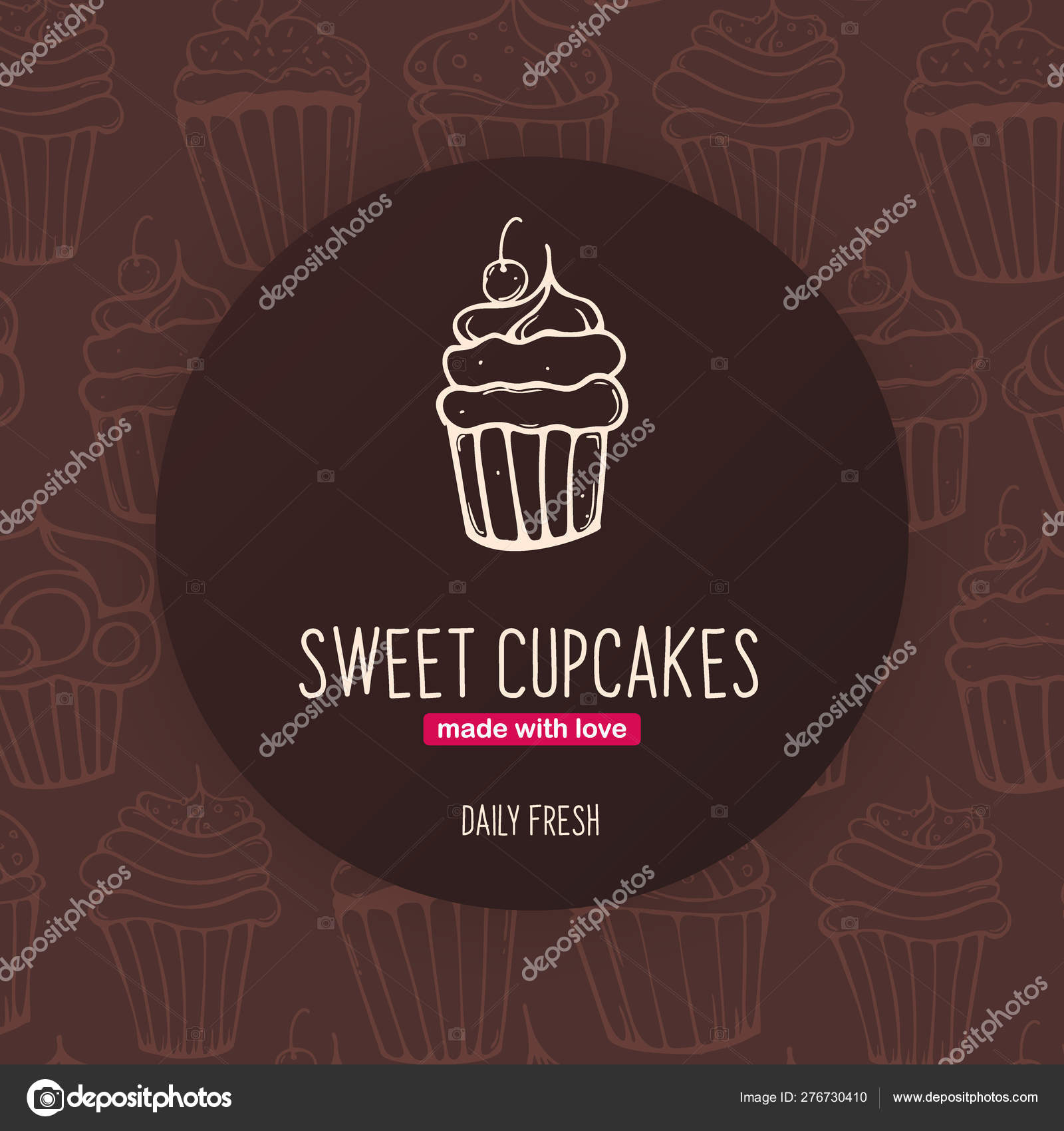 Cupcakes and Cakes banner with sketches hand drawing background.