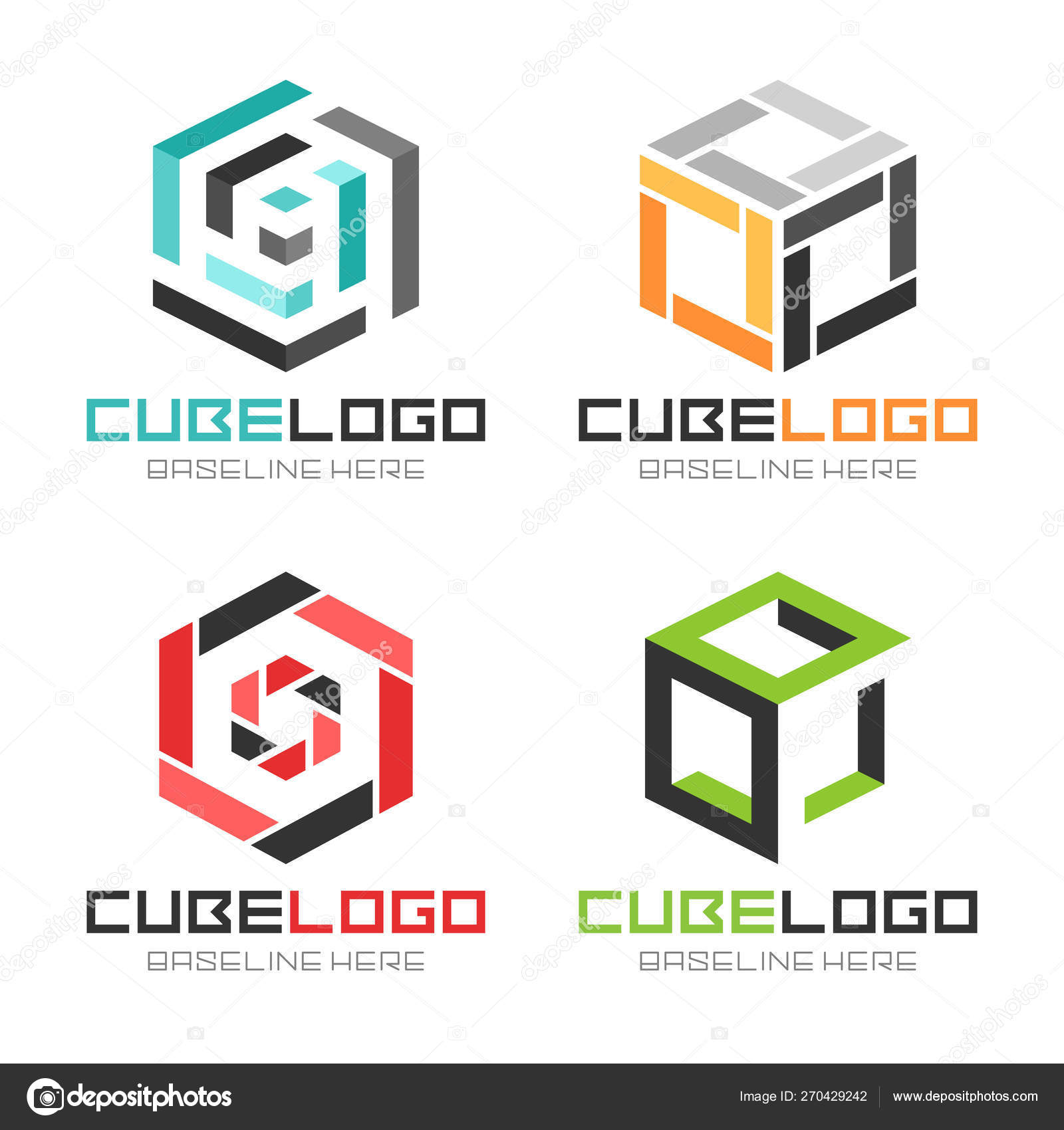 Cube Box Logos Icons Collection — Stock Vector © Jerome