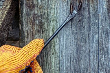 Screwdriver in hand and bent nail in a wooden wall