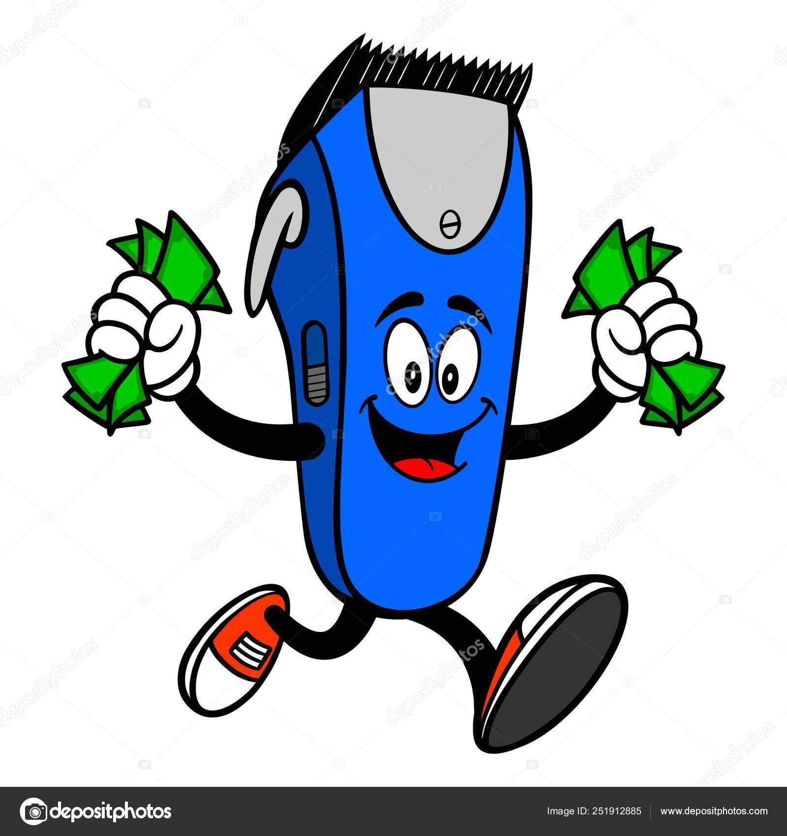 Electrical Hair Clipper Mascot Running Money Vector Cartoon Illustration Barber Stock Vector C Larryrains 251912885