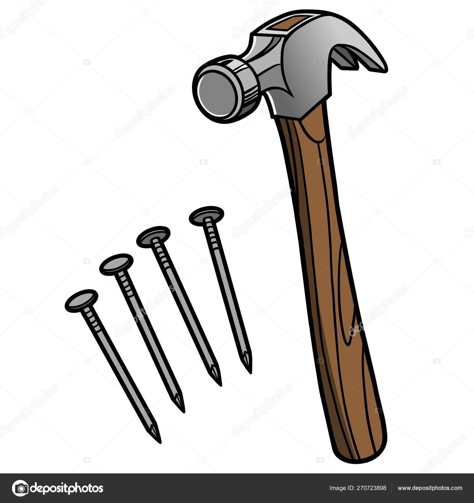 Hammer Nails Cartoon Illustration Hammer Nails \u2014 Stock